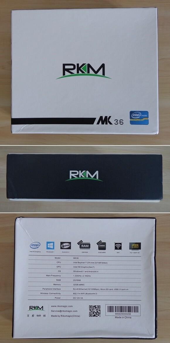 Rikomagic MK36 Mini PC Windows TV Box Package