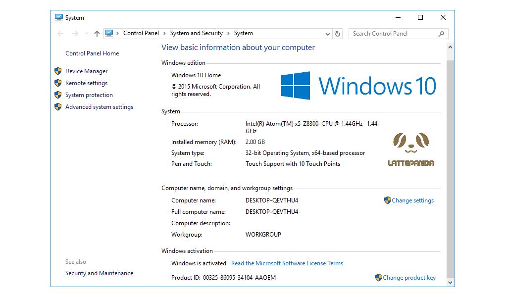LattePanda Windows 10 5