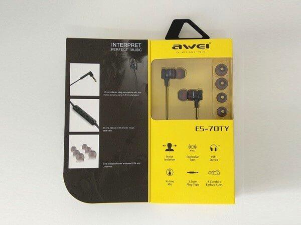 Awesome Handset In-ear earphone earbuds | AWEI ES-70TY 6