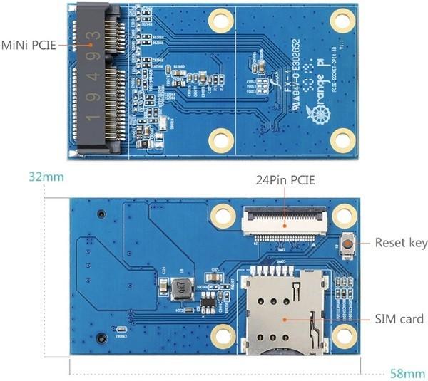 Orange Pi 4 4B PCIe Expansion Board